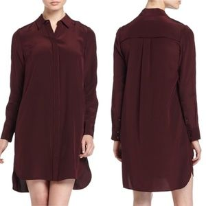 Vince Long-Sleeve Silk Shirtdress